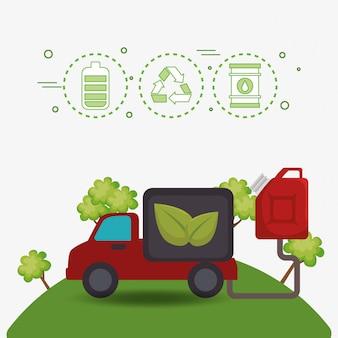 Ecologie auto voertuig pictogrammen