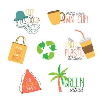 Ecologie badges in de hand getekend