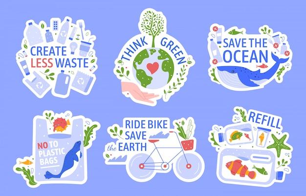 Ecologie beschermen. bespaar het milieu, geen afval, red de oceaan en recycle de geplaatste pictogrammen van de conceptenillustratie. groene vrede, anti-plastic. eco-actie, hergebruik. ecologische stickers met slogans