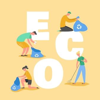 Ecologie bescherming concept, mensen verzamelen afval op strand. red onze planeet. vrijwilligers ruimen afval en vuilnis op poster, banner, flyer, brochure. cartoon plat
