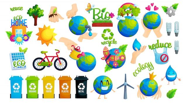 Ecologie bescherming idee platte vector illustratie set