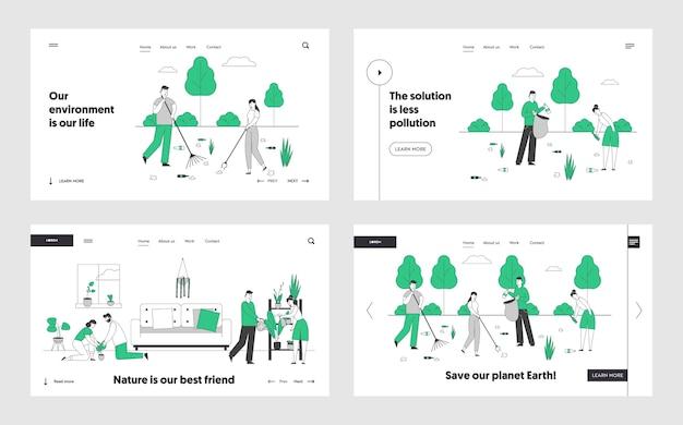 Ecologie bescherming liefdadigheid, tuinieren website landingspagina set.