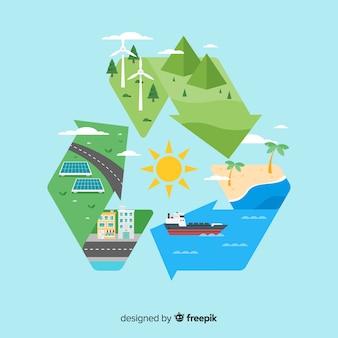 Ecologie concept achtergrond vlakke stijl