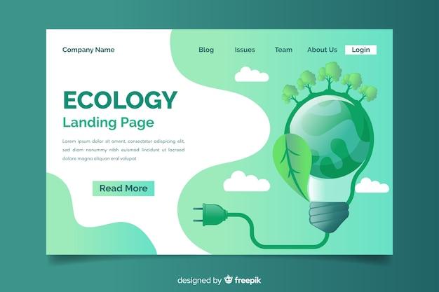 Ecologie concept bestemmingspagina sjabloon Premium Vector