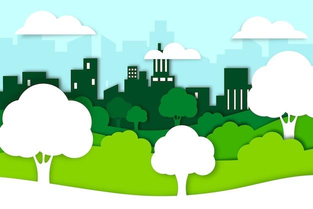 Ecologie concept in papierstijl met bomen