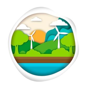Ecologie concept in papierstijl met de natuur