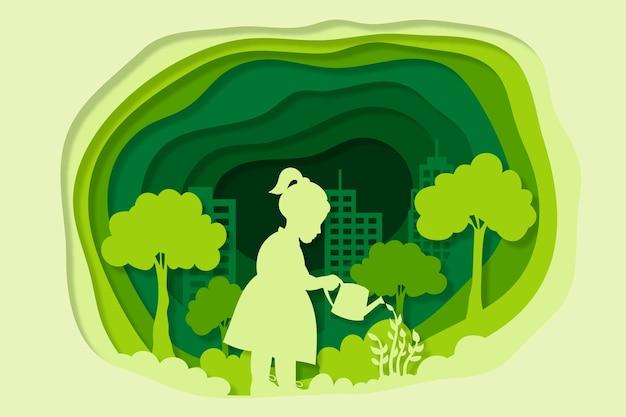 Ecologie concept in papierstijl