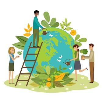 Ecologie concept. mensen zorgen voor de planeet. beschermde natuur. dag van de aarde. wereldbol met planten en vrijwilligers mensen
