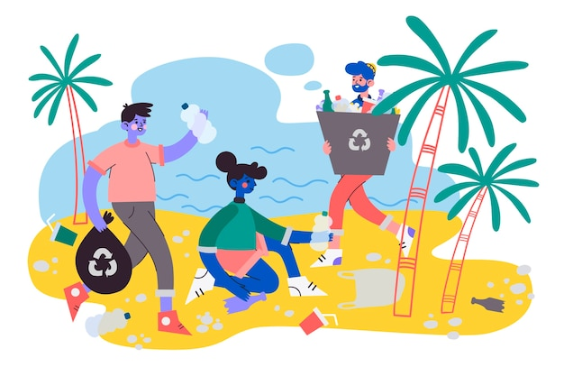 Ecologie concept met mensen die het strand schoonmaken