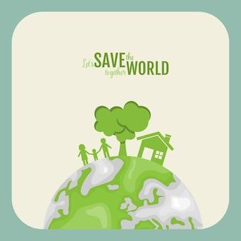Ecologie concept. papier gesneden van familie en boom op groene achtergrond. illustratie.