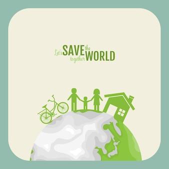 Ecologie concept. papier gesneden van familie op groene achtergrond. illustratie.