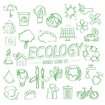Ecologie doodle pictogrammen