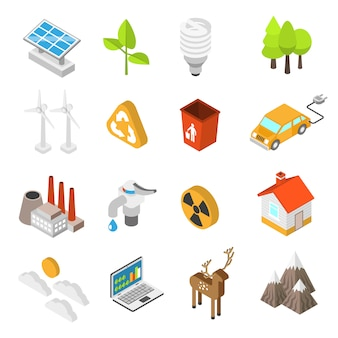 Ecologie en milieu bescherming icon set