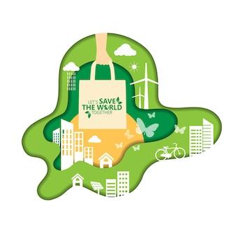 Ecologie en milieubehoud creatief idee conceptontwerp