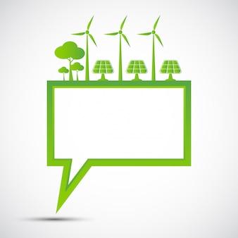 Ecologie en milieuconcept, het symbool van de aarde met groene bladeren rond steden helpen de wereld met eco-vriendelijke ideeën