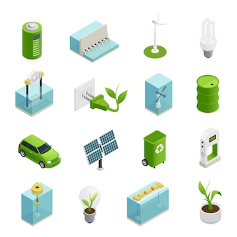 Ecologie energie isometrische icons set