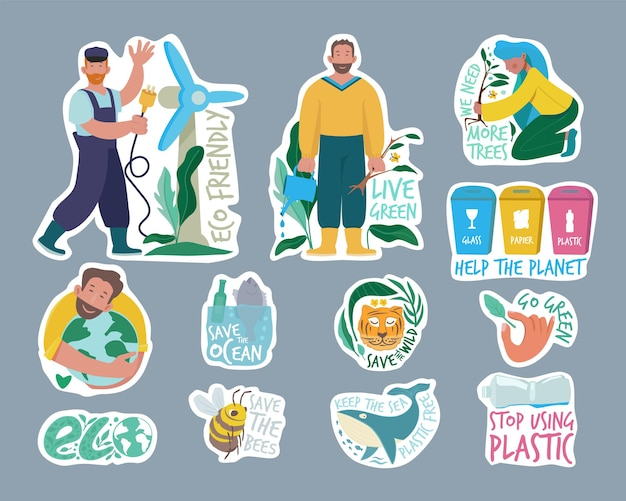 Ecologie etiketten. eco vriendelijke badges set.