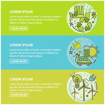 Ecologie, groene technologie, biologisch, bio. cartoon banners