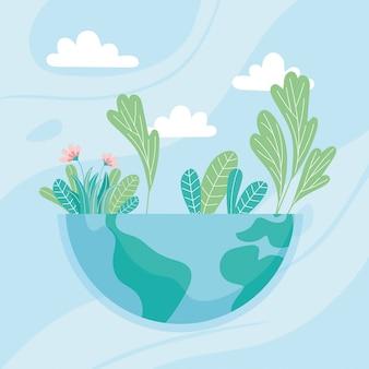 Ecologie halve wereld met bloemenbladeren, red de planeet bescherm aard en ecologie