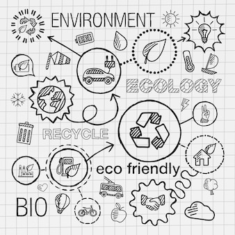 Ecologie infographic hand tekenen pictogrammen. schets geïntegreerde doodle illustratie voor milieu, milieuvriendelijk, bio, energie, recyclen, auto, planeet, groene concepten. hatch verbonden pictogrammen instellen.
