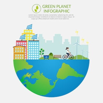 Ecologie infographic vectorelementen illustratie milieuverontreiniging. stadsleven achtergrond set.