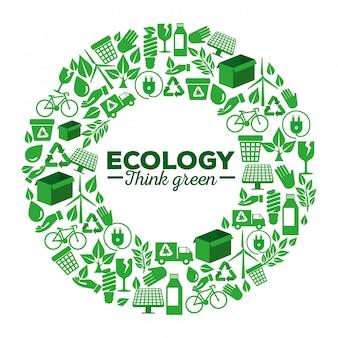 Ecologie label met hernieuwbaar element voor bescherming