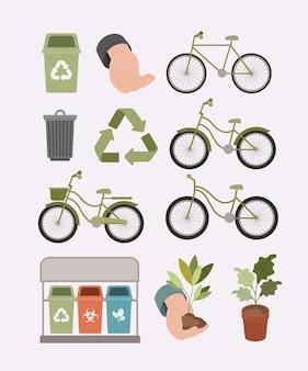 Ecologie levensstijl stel pictogrammen