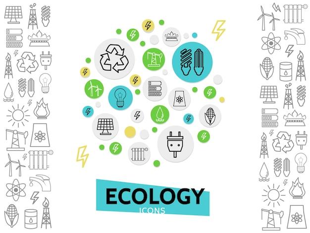 Ecologie lijn pictogrammen concept met energie-veiligheid eco-elektriciteit en milieu-overzichtselementen