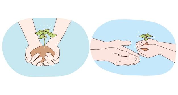Ecologie, milieubescherming en tuinieren concept. menselijke handen met stuk grond met