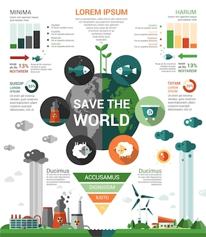 Ecologie - moderne platte ontwerpsjabloon infographics