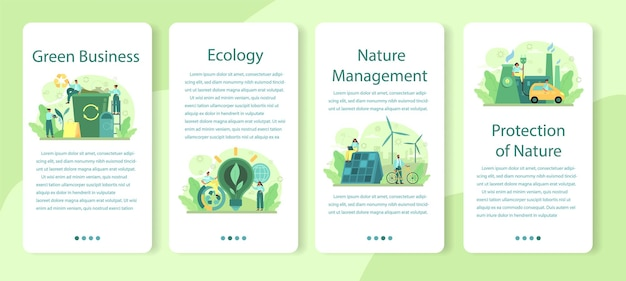 Ecologie of milieuvriendelijke banner set voor zakelijke mobiele applicaties