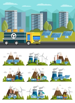 Ecologie orthogonale composities illustratie set