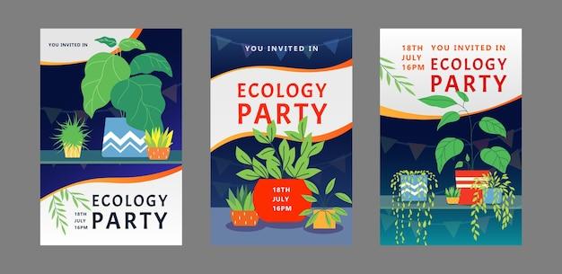 Ecologie partij uitnodigingskaarten ontwerpset. kamerplanten, huisplanten in potten vector illustratie met tekst, tijd en datum monsters