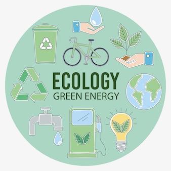 Ecologie pictogrammen in cirkel