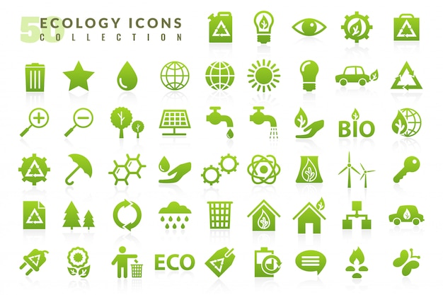Ecologie plat pictogrammen instellen