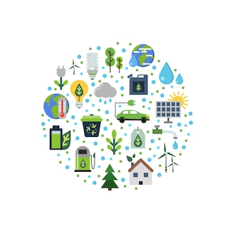 Ecologie plat pictogrammen verzameld in cirkel
