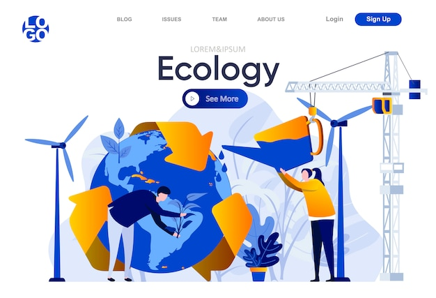 Ecologie platte bestemmingspagina. mensen die bomen planten en de illustratie van de aardebol water geven. wereldwijde ecologie en ecosysteemveiligheid, schone groene energie webpagina-samenstelling met personages.