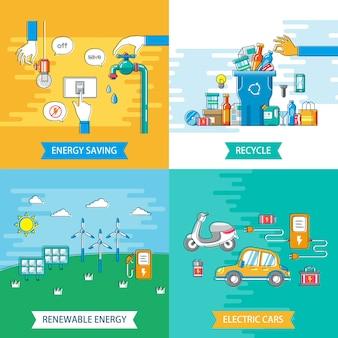 Ecologie platte ontwerp illustratie energiebesparing