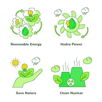 Ecologie set van hernieuwbare energie waterkracht