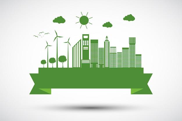 Ecologie stad concept en milieu met eco-vriendelijke ideeën