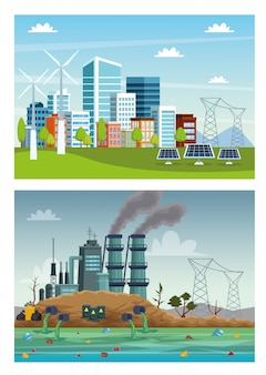 Ecologie stad en industrie vervuiling scènes