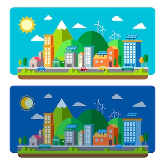 Ecologie stad landschap concept in plat ontwerp