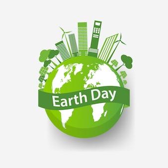 Ecologie stadsconcept en omgeving met milieuvriendelijke ideeën