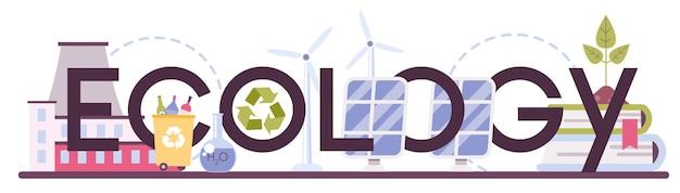 Ecologie typografische koptekst. wetenschapper die voor de natuur zorgt en de ecologische omgeving bestudeert.