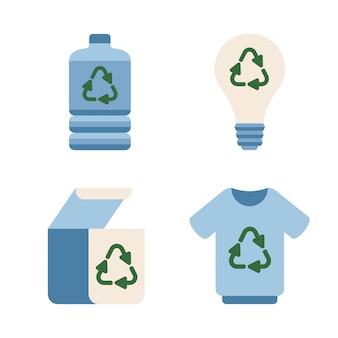 Ecologie van plastic fles, kleding, papieren doos, gloeilamp met recycling-elementen