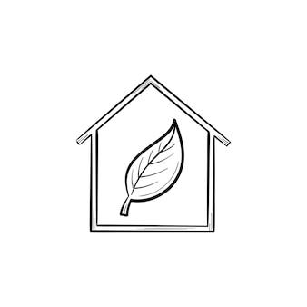 Ecologie vriendelijk huis met blad hand getrokken schets doodle pictogram. blad in een groene eco huis schets vectorillustratie voor print, web, mobiel geïsoleerd op een witte achtergrond. ecologie ondersteunen concept.
