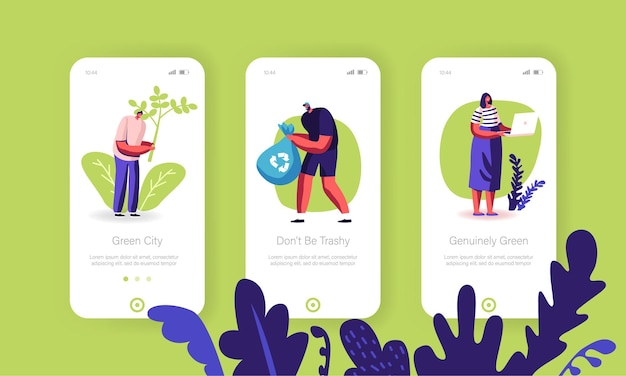 Ecologiebescherming mobiele app-pagina schermset aan boord.