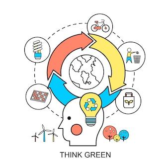 Ecologieconcept: denk groen in platte lijnstijl