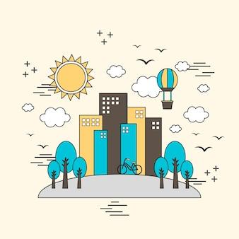 Ecologieconcept: mooie stadsscène in dunne lijnstijl