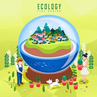 Ecologieconcept, prachtige groene stad in kristallen bol